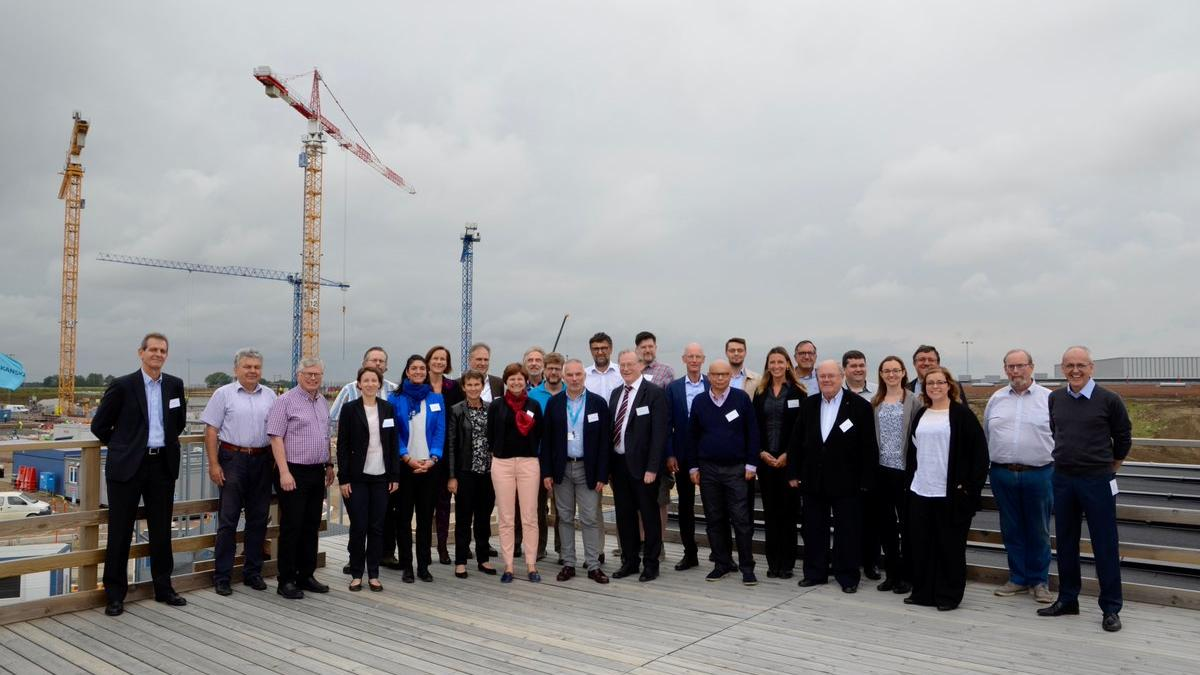 Family picture from Mid-Term Review of Horizon2020 project BrightnESS on the HORIZON Viewing Deck at ESS